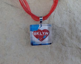 Broadway Musical Brooklyn Glass Pendant and Ribbon Necklace