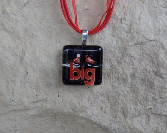 Broadway Musical Big Glass Pendant and Ribbon Necklace