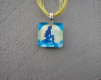 Broadway Musical The Little Mermaid Glass Pendant and Ribbon Necklace