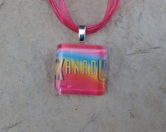 Broadway Musical Xanadu Glass Pendant and Ribbon Necklace