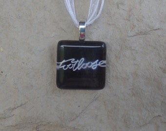 Broadway Musical Footloose Glass Pendant and Ribbon Necklace
