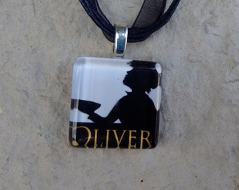 Broadway Musical Oliver Glass Pendant and Ribbon Necklace
