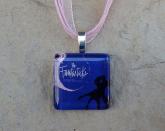 Broadway Musical The Fantasticks Glass Pendant and Ribbon Necklace