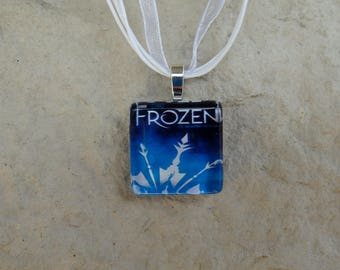 Broadway Musical Frozen Glass Pendant and Ribbons Necklace
