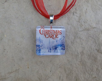 Broadway Musical A Christmas Carol Glass Pendant and Ribbon Necklace