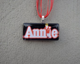 Broadway Musical Annie Rectangle Glass Pendant and Ribbon Necklace