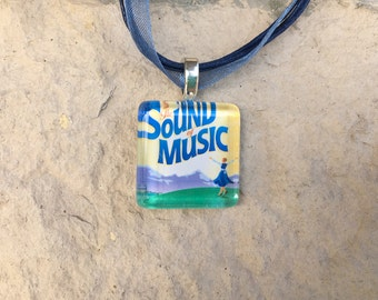 Broadway Musical The Sound of Music Glass Pendant and Ribbon Necklace