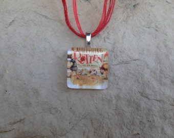 Broadway Musical Something Rotten Glass Pendant and Ribbon Necklace