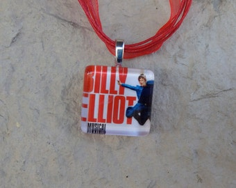 Broadway Musical Billy Elliot Glass Pendant and Ribbon Necklace