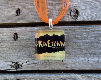 Broadway Musical Urinetown Glass Pendant and Ribbon Necklace