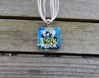 Broadway Musical Shrek Glass Pendant and Ribbon Necklace