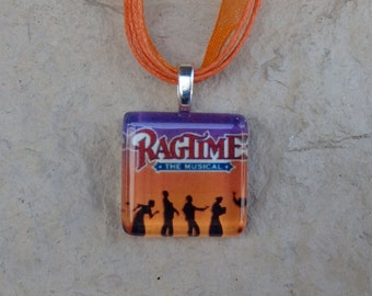 Broadway Musical Ragtime Glass Pendant and Ribbon Necklace