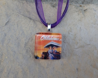 Broadway Musical Oklahoma! Glass Pendant and Ribbon Necklace