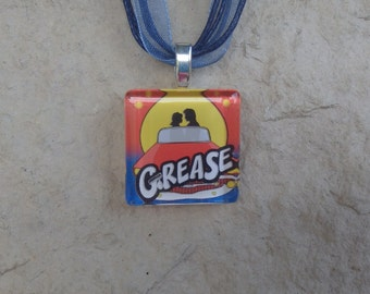 Broadway Musical Grease Glass Pendant and Ribbon Necklace