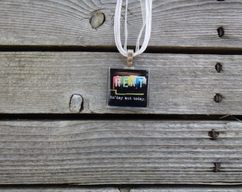 Broadway Musical RENT Glass Pendant and Ribbon Necklace