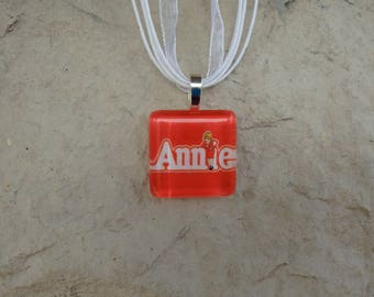 Broadway Musical Annie Glass Pendant and Ribbon Necklace
