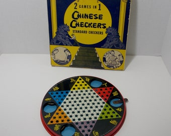 Standard Checkers and Chinese checker game Metal 2 in 1 game  original box USA made marbles included Woodhaven Metal Co. BKLYN 8 N.Y.