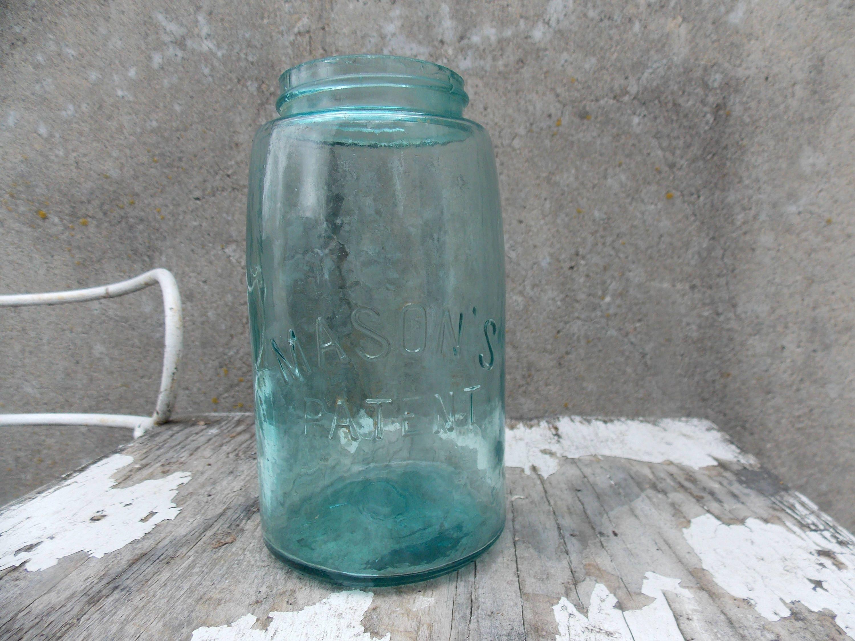 Mason Quart Jar Blue Or Aqua Fruit Jar Circa Late 1800 S Etsy
