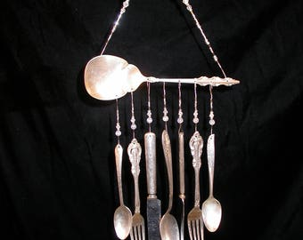 Wind Chimes Silver Plate Serving Spoon with Silverware Unique Vintage Whimsical Upcycled