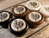 Handmade Rooster Kitchen Knob, Pull, Handle in Wood for Cabinet Door, Furniture Drawer Price is for 1 Knob (Discount Quantities Available)