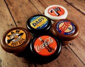 Classic Coke, Pepsi, 7 Up, A W, Dad 39 s Vintage Decorative Wood Knobs, Pulls Price is for 1 Knob (Quantity Discounts Available )
