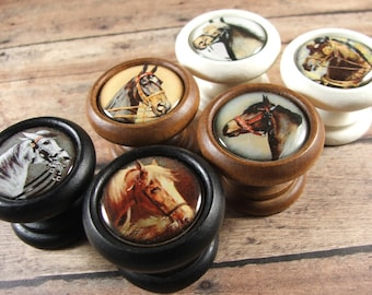 Horse Head Decorative Wood Cabinet Knobs, Pulls Handles...Price Is For 1  Knob (Quantity Discounts Available!)