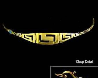 24k Gold Plated Sterling Silver Bracelet w/ Greek Key Motif Links & Opal (15mm), Imported From Greece