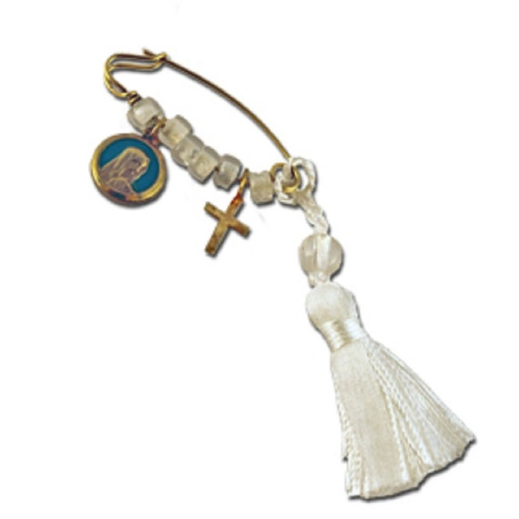 34mm Silver Yellow Plated Our Lady Guadalupe Charm