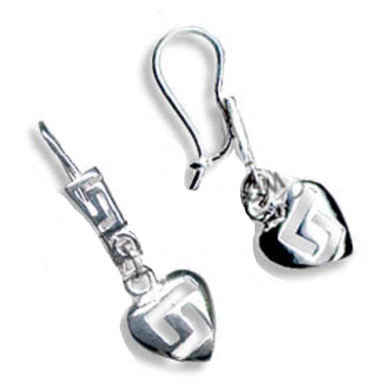 Sterling Silver Greek Key Heart-Shaped Dangle Earrings