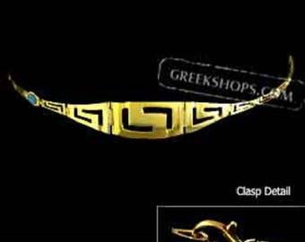 24k Gold Plated Sterling Silver Bracelet w/ Greek Key Motif Links & Opal (15mm)