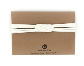 Braided Thin Sailor Knot Headband for Adult, Teen, Child, Toddler or Baby, Off-White Stretch Bamboo/Organic Cotton
