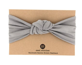 Gray Retro Knot Headband for Baby, Toddler, Child, Teen or Adult in Stretch Bamboo/Organic Cotton, Headwrap, Topknot
