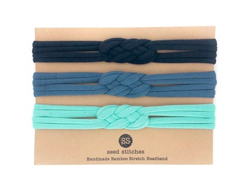 Set of Braided Thin Sailor Knot Headbands in Navy, Classic Blue and Aqua for Baby, Toddler, Child, Youth, Adult in Bamboo/Organic Cotton