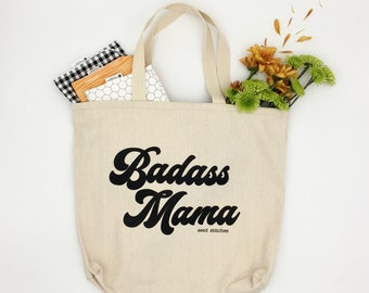 Badass Mama Tote Bag, Gift for Mom, Mother's Day Gift, Fun Tote Bag, Unique Diaper Bag
