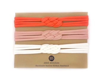 Set of Thin Sailor Knot Headbands in Hot Coral, Dusty Pink & Off-White for Baby, Toddler, Child, Adult in Bamboo/Organic Cotton Fabrics
