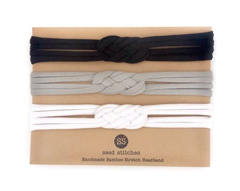 NEW! Set of 3 Thin Sailor Knot Headbands in Black, Gray & White for Adult, Youth, Child, Toddler, Baby in Bamboo/Organic Cotton Fabrics