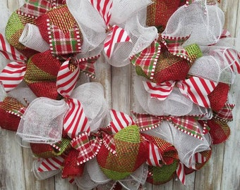 Green candy cane christmas wreath
