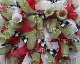 Flannel christmas wreath