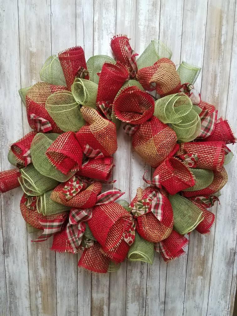 burlap christmas wreath - Burlap Christmas Wreaths