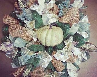 White pumpkin fall wreath