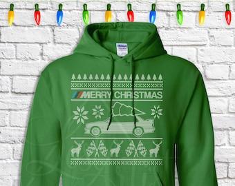 BMW E30 Christmas Sweater - Hoodie - Hooded Sweatshirt