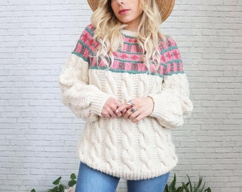1960's Fair Isle Wool Sweater   Medium Size Ladies Sage Green Pink Cream Chunky Cableknit Cable Knit Braided Nordic Warm Winter Ski Jumper