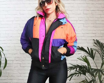 1980's Neon Ski Jacket, Small Size Ladies Down Puffer Cropped Coat Puffy Retro Warm Winter Color Block Snowboard Funky 1980s Roll Up Hood