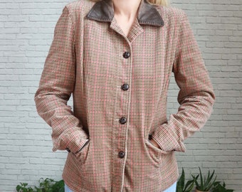 Vintage Brown Houndstooth Blazer | Small Size Ladies | Vtg Check Fall Winter Preppy Plaid Jacket Soft Cotton Stretch Rustic Fitted Tailored