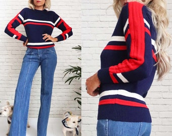1970s Striped Knit Sweater, Pullover Ski Jumper, Red White Blue, Small To Medium, Acrylic Mod Knitwear, Retro Vintage Pull Over Long Sleeve