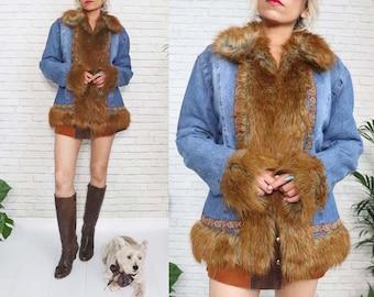 Penny Lane Denim Coat, Shaggy Faux Fur Jacket, Embroidered Trim Warm Winter Boho Hippie, 90s Does 70s, Large Size, Animal Friendly Vegan
