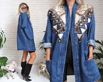 1980's Jeweled Denim Jacket Christie of California Jewel Bedazzle Fashion Jean Blazer Embellished Funky Artist Vintage Oversized Glam