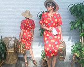 Vintage 1970s TROPICAL Hawaiian Wiggle Pencil Dress Red Floral Cotton Summer Vacation Dress 1950s Pin Up Style Size XS