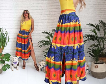 1980s Dorothy Schoelen Skirt, Size Small Ladies,  Platinum Label, Tropical Tribal Boho Print, Hippie Beach Hawaiian High Waist, Rayon Midi