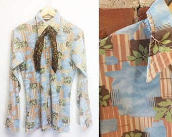 69cae5ddc947c Vintage 1960 s 1970 s Mens DAYDREAM BELIEVER Psychedelic Groovy Whimsical Button  Down Poly Disco Shirt